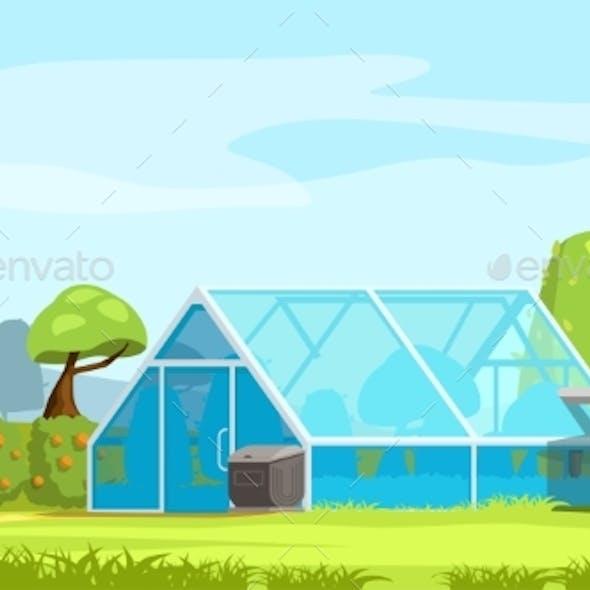 Greenhouse in Nature Landscape