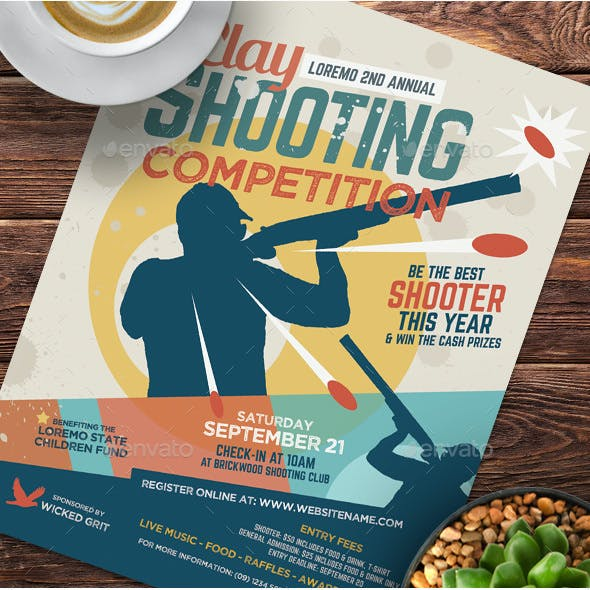 Clay Shooting Competition Flyer Template
