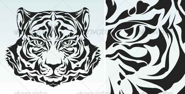 Tiger head silhouette - Animals Characters