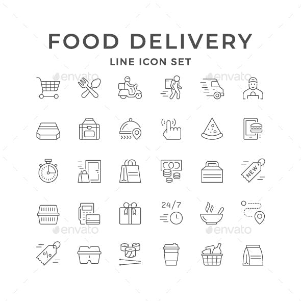Set Line Icons of Food Delivery