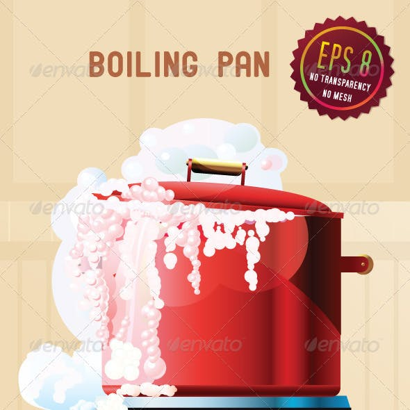 Red boiling pan