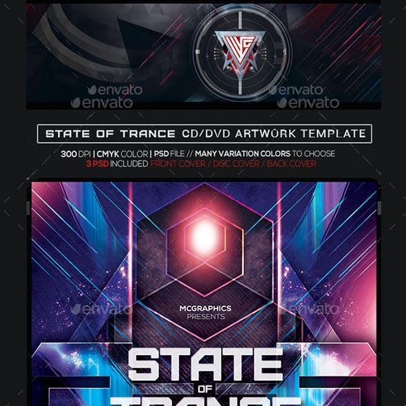 State of Trance Photoshop CD/DVD Album Cover Artwork Template