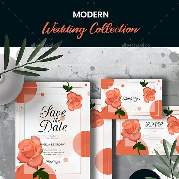 Watercolor Wedding Invitation Cards with Rose Flowers