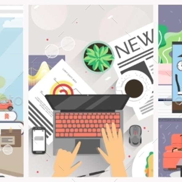 Remote Work From Home Office Vector Poster