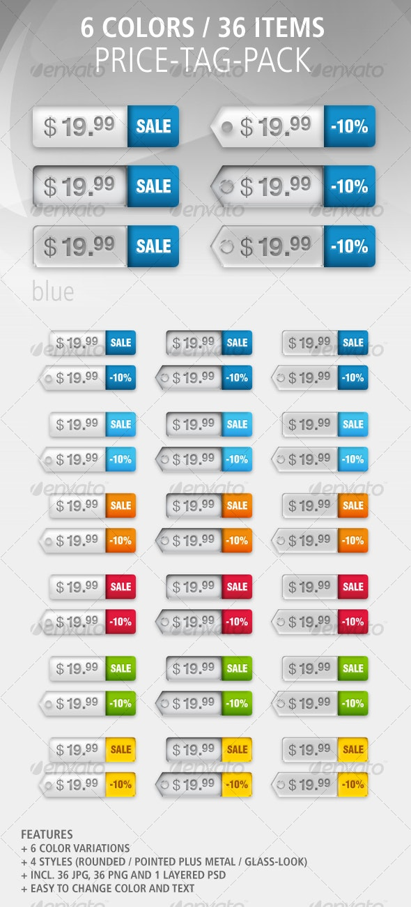 36 Price-Tags: Colored / Glass / Metal - Buttons Web Elements