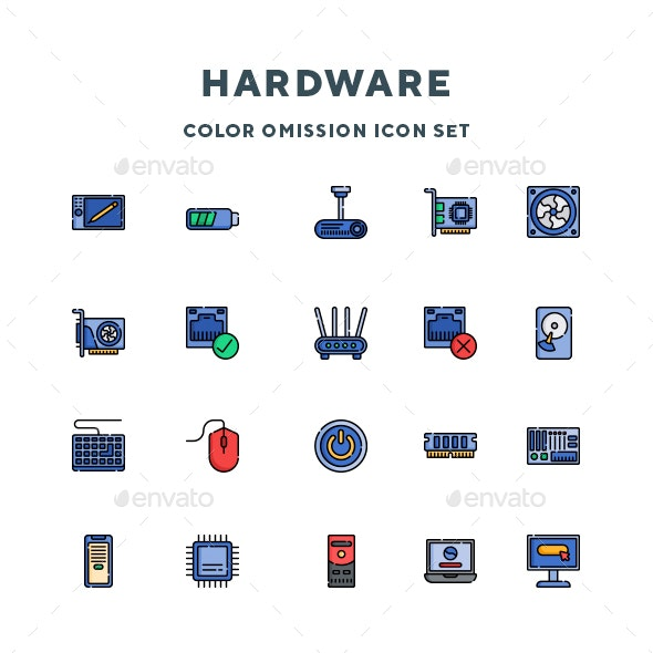 hardware icons by guapoo graphicriver https graphicriver net item hardware icons 27456545