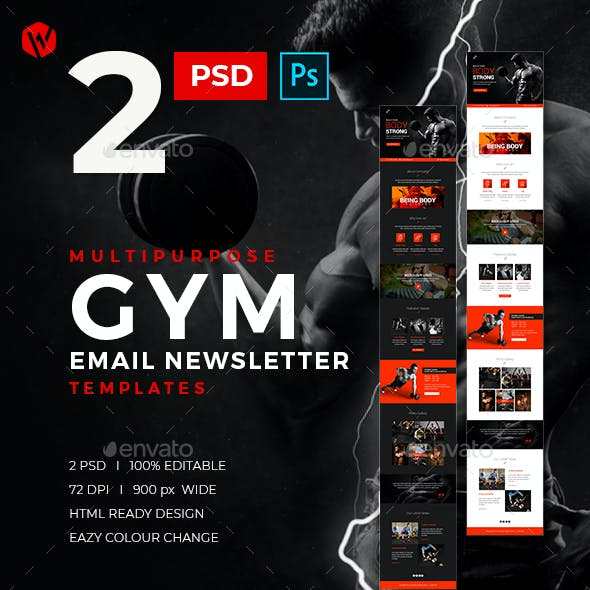 Gym Email Newsletter PSD Templates