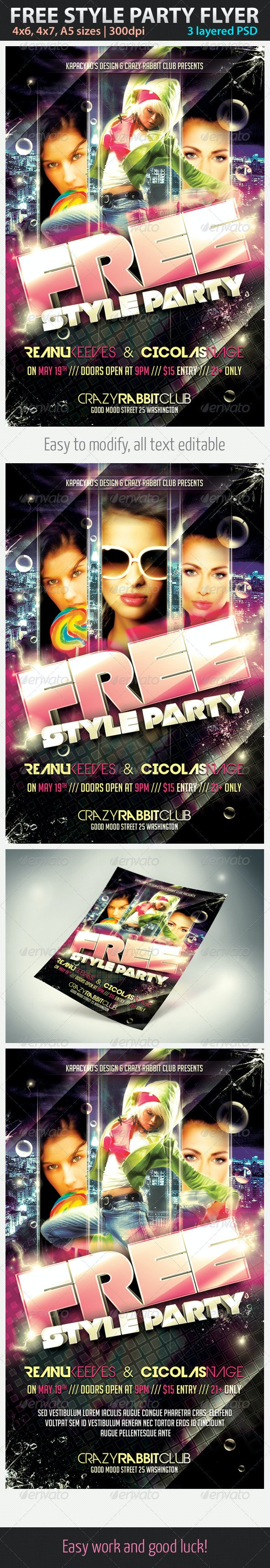 Free Style Party Flyer - Clubs & Parties Events