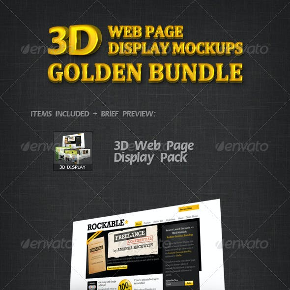 3D Web Page Display Mockups Golden Bundle