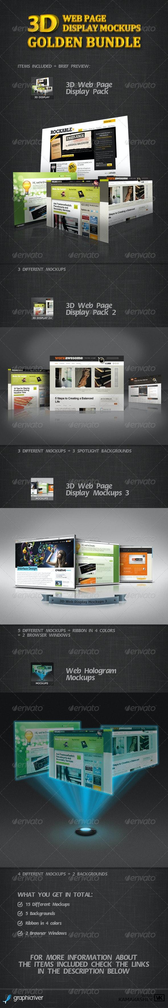 3D Web Page Display Mockups Golden Bundle - Website Displays