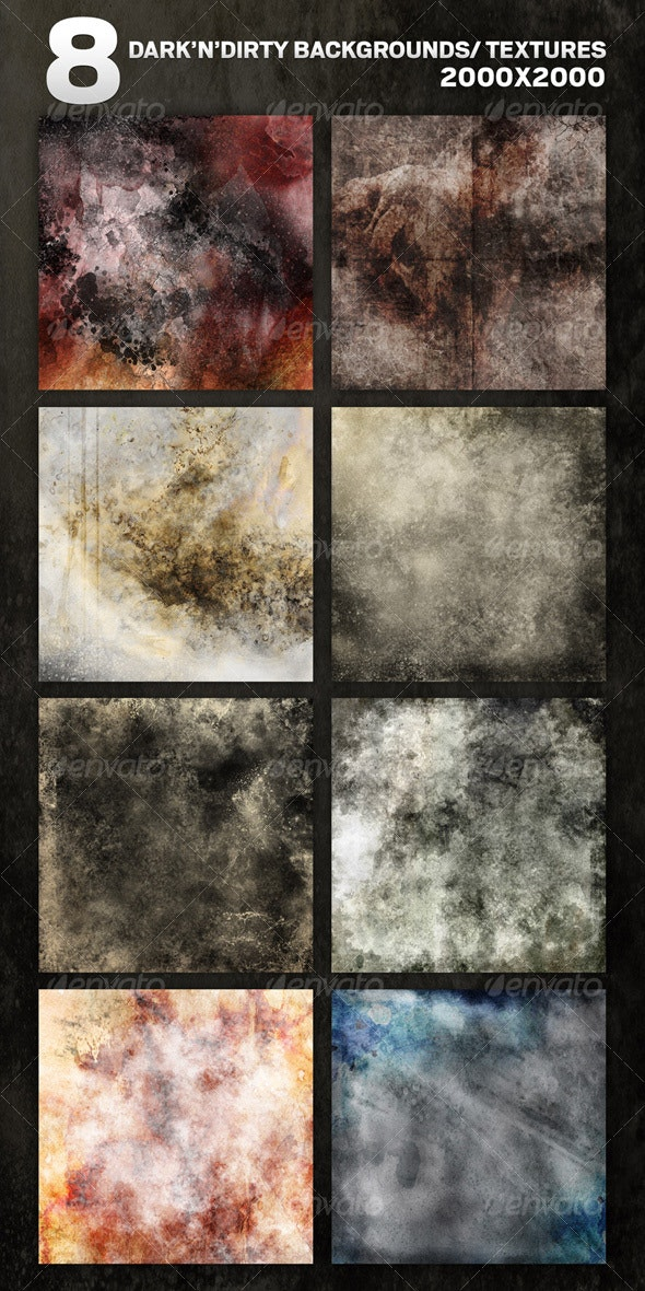 8 Dark'N'Dirty Backgrounds/Textures in RGB & CMYK - Backgrounds Graphics