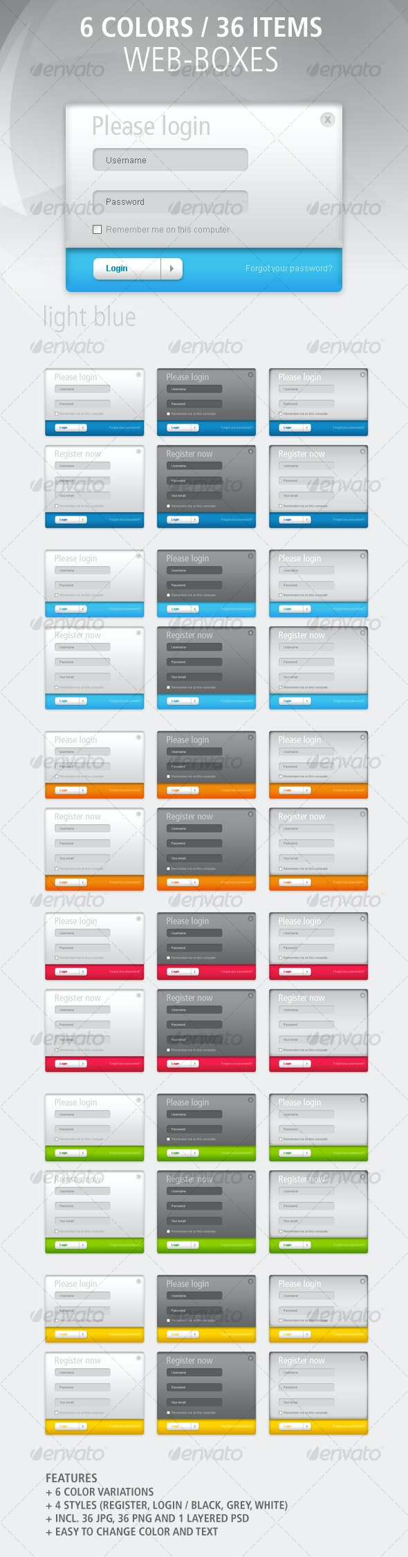 36 Web-Boxes: Register and Login / Colored - Web Elements