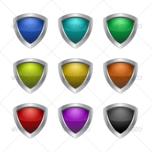 Gloss & Metal Shield - Decorative Vectors
