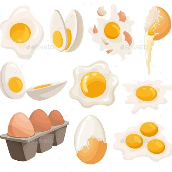 Cartoon Eggs Isolated on White Background