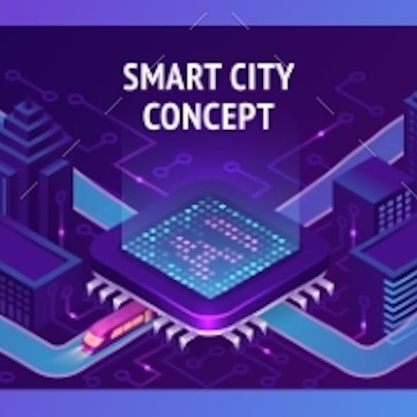 Smart City Isometric Banner with Trains or Subways