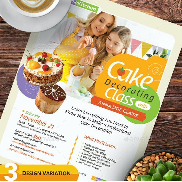 Cake Decorating Class Flyer Templates