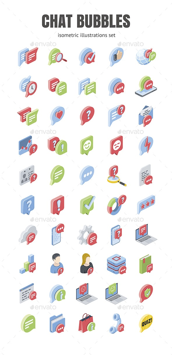Chat, Bubbles, Message set - Web Icons