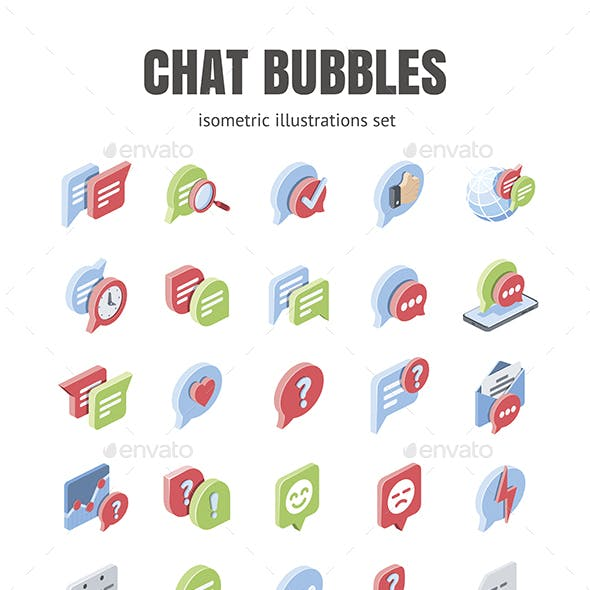 Chat, Bubbles, Message set