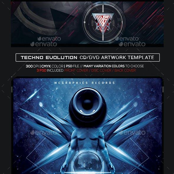 Techno Evolution Album Artwork Photoshop CD/DVD Template