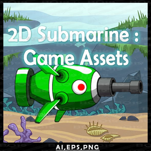2D Submarine : Game Assets