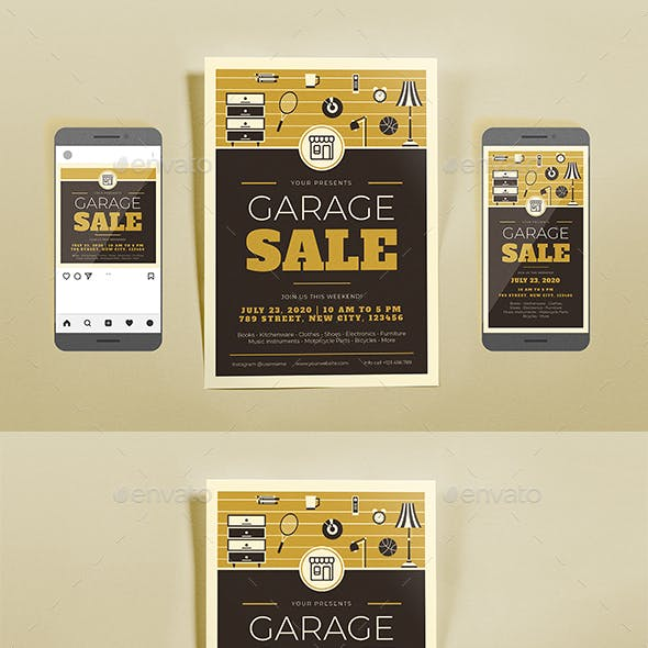 Garage Sale Brown Template Set