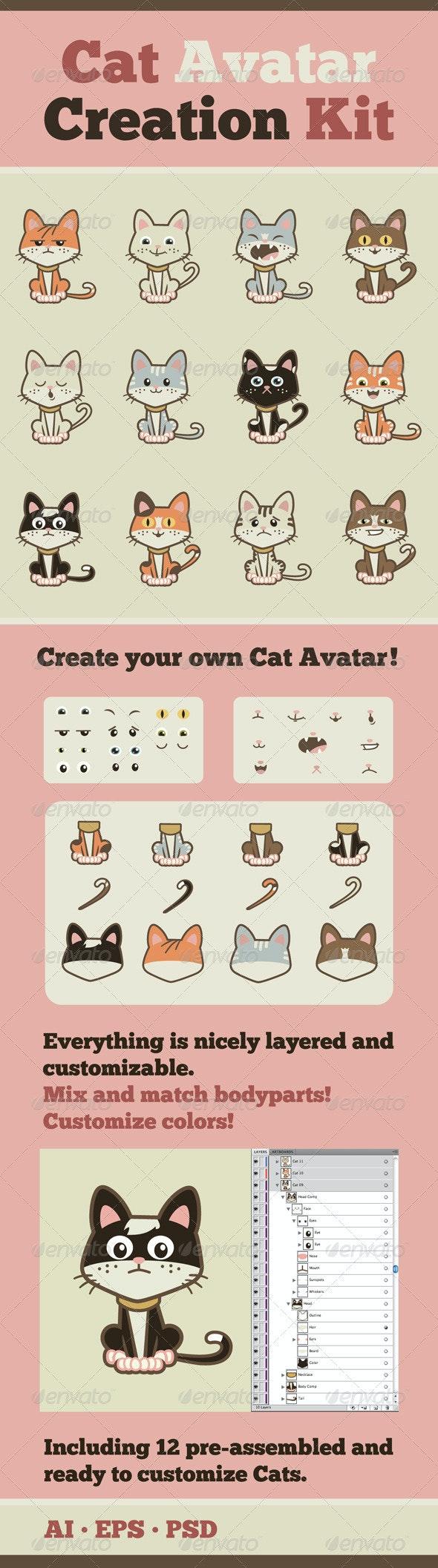Cat Avatar Creation Kit - Animals Characters
