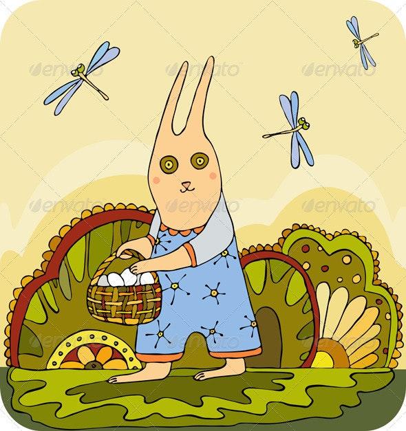 Easter Rabbit Basket Egg - Seasons/Holidays Conceptual