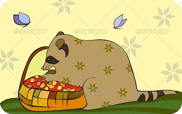 Racoon Basket Berries - Animals Characters