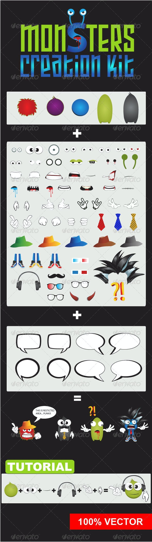 Monsters Creation KIT - Characters Vectors
