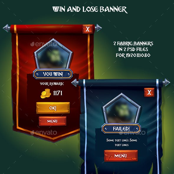 Win and Lose Fabric Game Banner