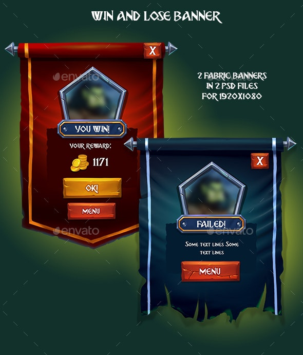 Win and Lose Fabric Game Banner - User Interfaces Game Assets