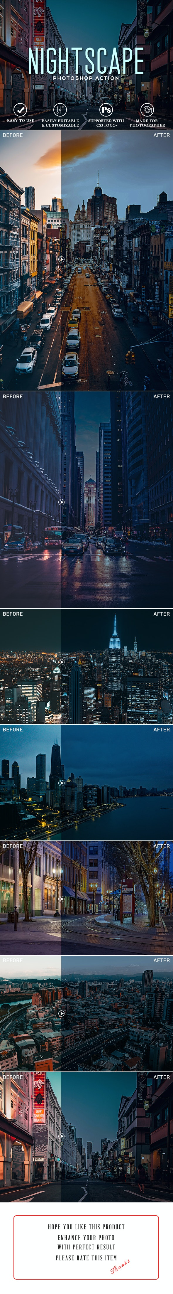 Nightscape Photoshop Action - Photo Effects Actions