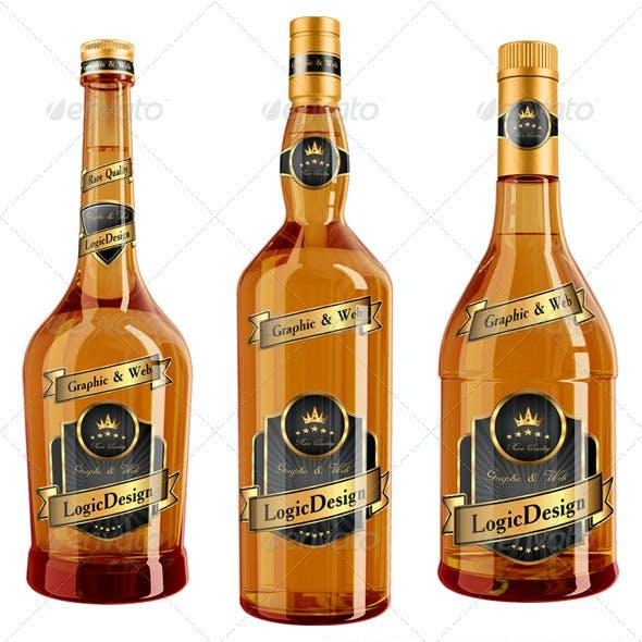 Whisky & Cognac Bottle Mock Up