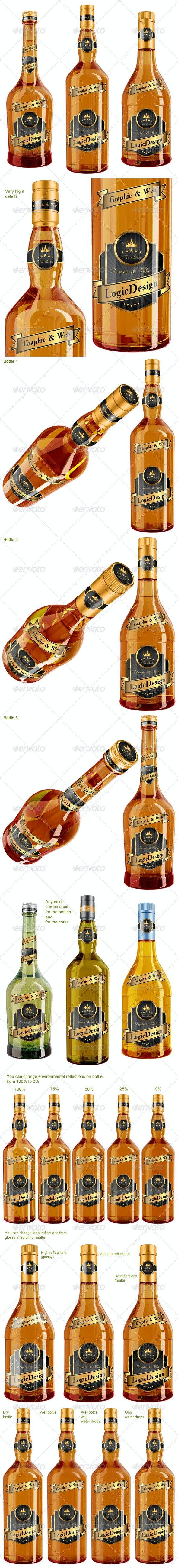 Whisky & Cognac Bottle Mock Up - Food and Drink Packaging