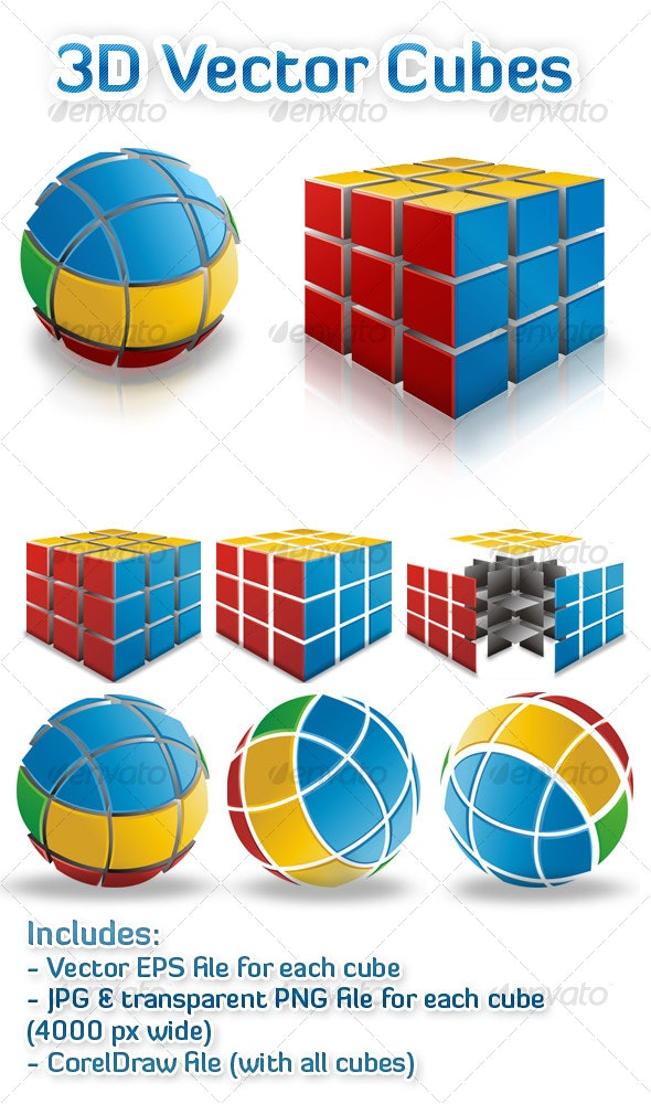 3D Vector Cubes - Man-made Objects Objects