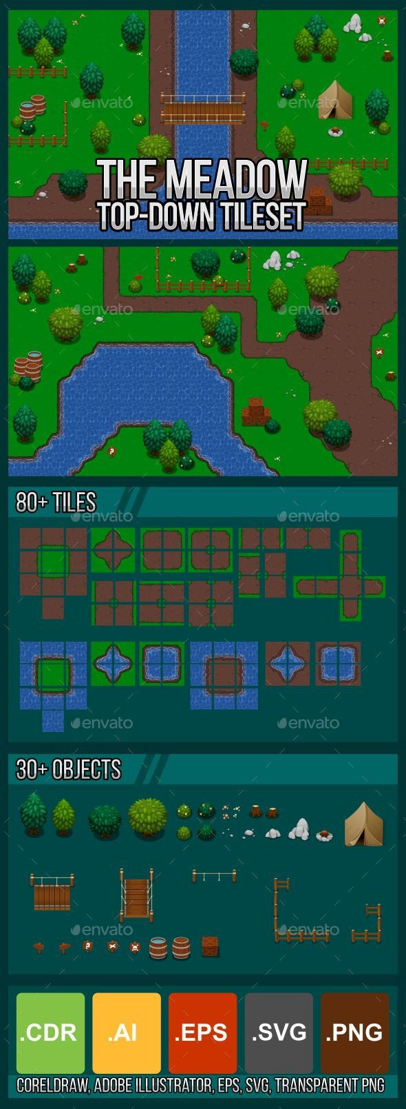 The Meadow - Top Down Tileset - Tilesets Game Assets