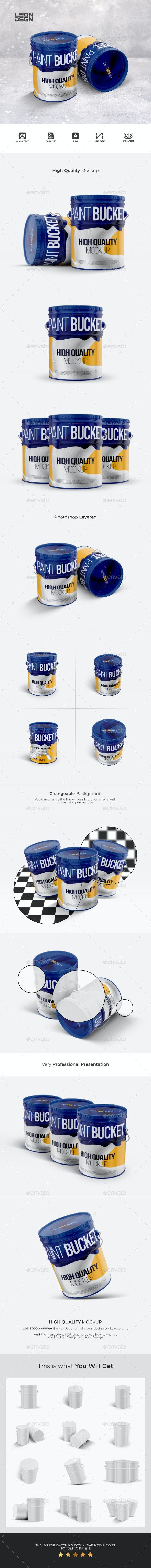 Paint Bucket Tin Mockup - Miscellaneous Product Mock-Ups