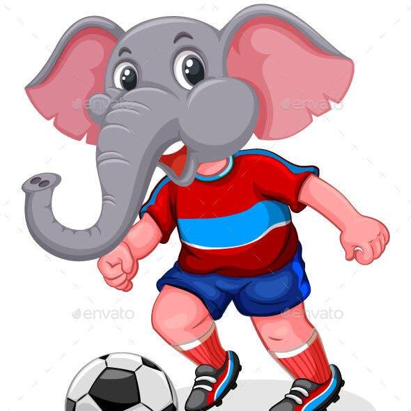 Elephant Play Football Cartoon