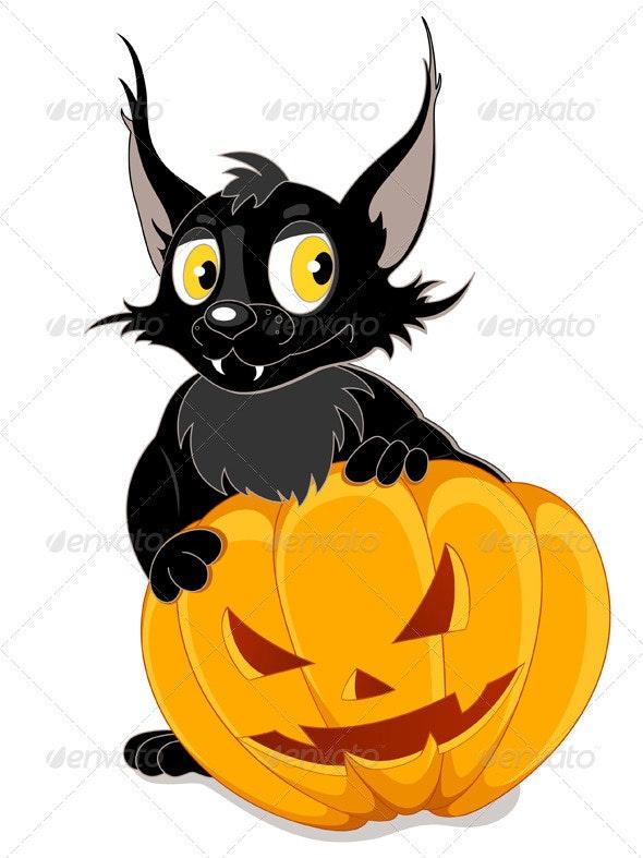 Black Bat and Halloween Pumpkin - Halloween Seasons/Holidays