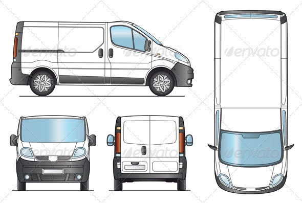 Delivery Van Template. - Man-made Objects Objects