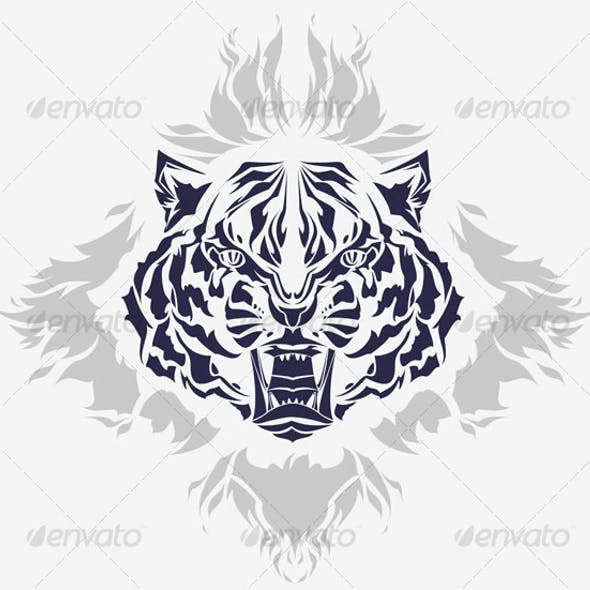 Tribal growling tiger head and flames