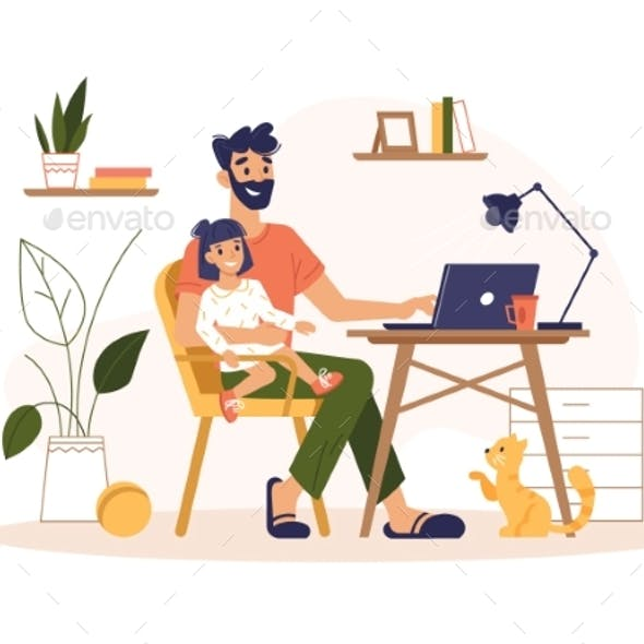 Father Work Home at Laptop Freelance Remote Office