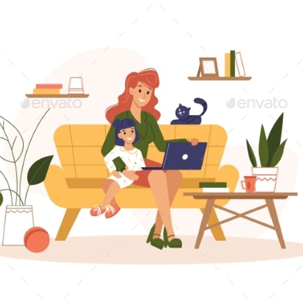 Mother Work Home at Laptop Freelance Remote Office