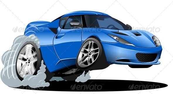 Vector Cartoon Sport Car - Man-made Objects Objects
