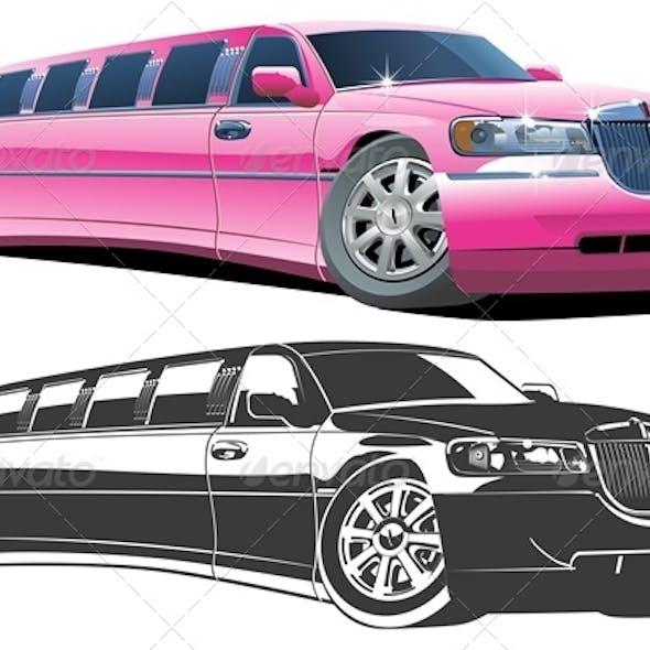 Vector Cartoon Limousines Set