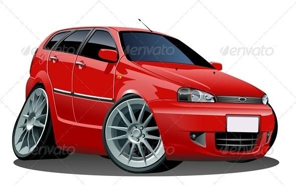 Vector Modern Cartoon Car - Man-made Objects Objects