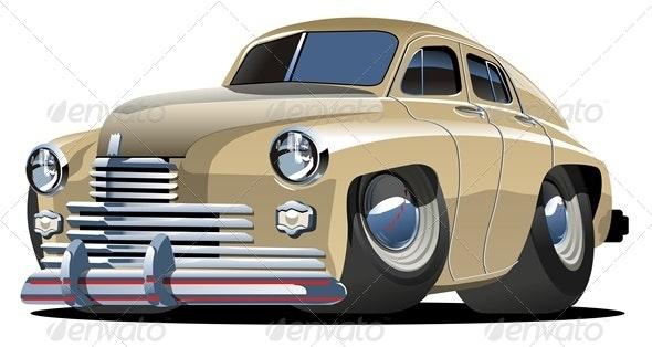 Vector Cartoon Retro Car - Man-made Objects Objects