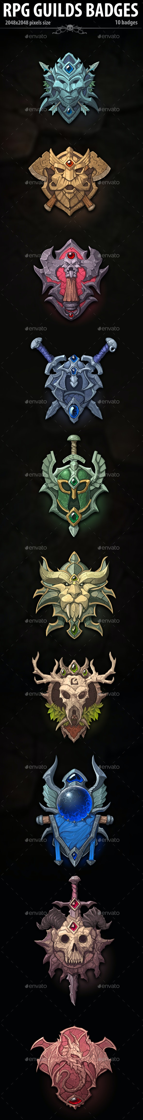 RPG Guilds Badges - Miscellaneous Game Assets