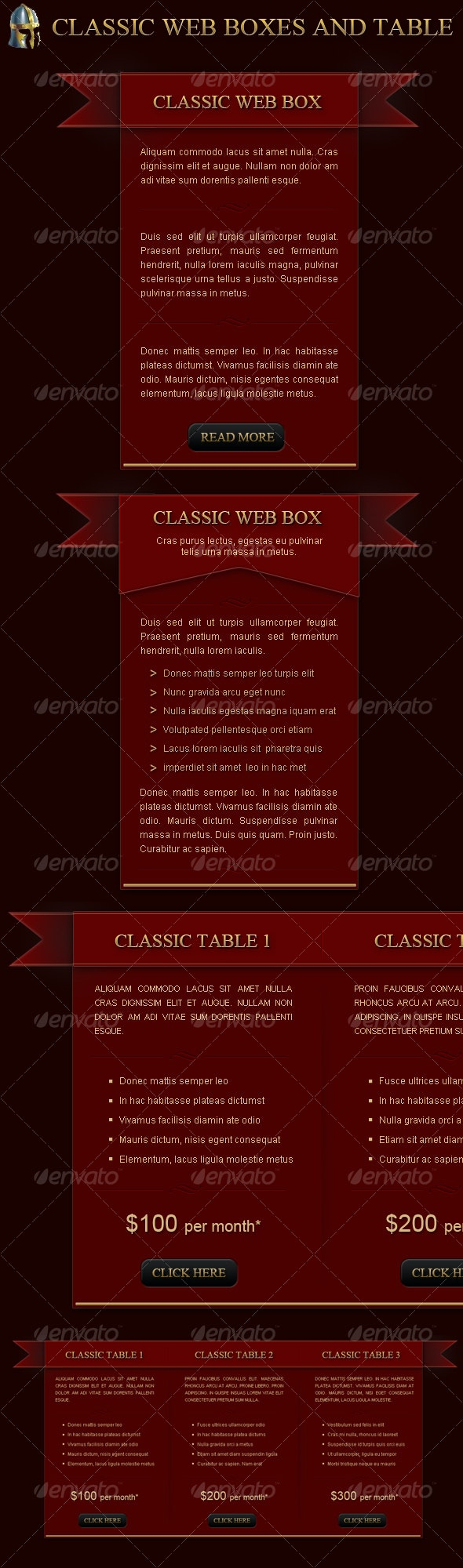Classic medieval web boxes and table  - Banners & Ads Web Elements