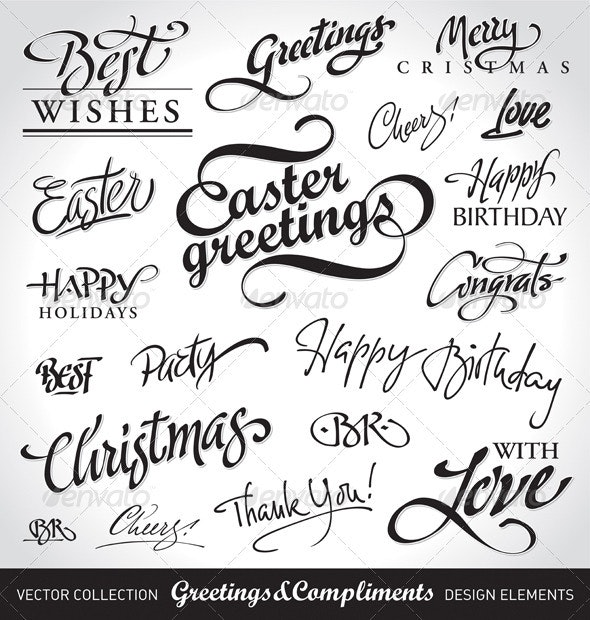 Seasonal & Holiday Greetings Set - Decorative Vectors